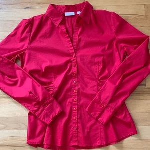 NWOT NY&Co Red Ruched Jeweled Button Top - Large